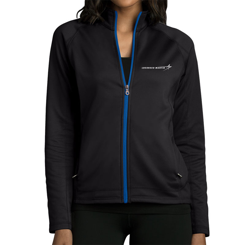 Ladies' Softshell Fleece Jacket - Black / Royal