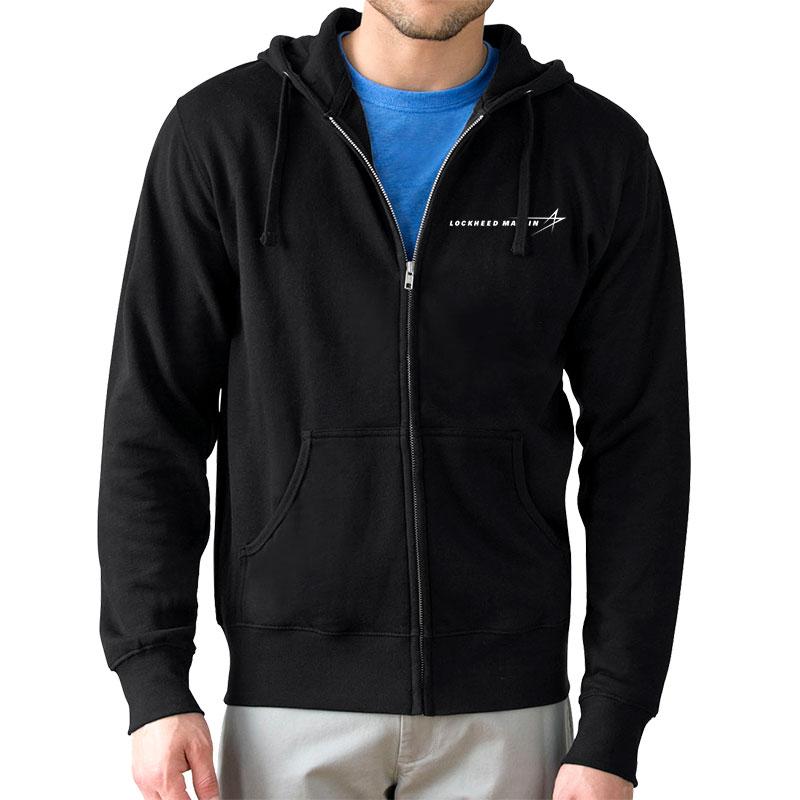 Lightweight Fleece Full Zip Hoodie - Black