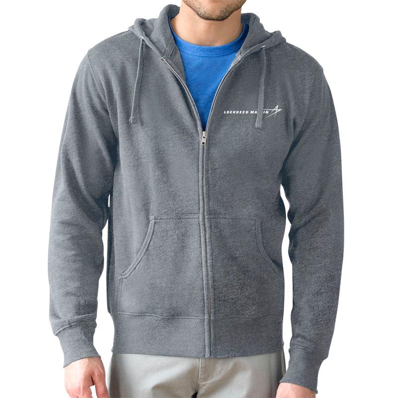 Lightweight Fleece Full Zip Hoodie - Gray