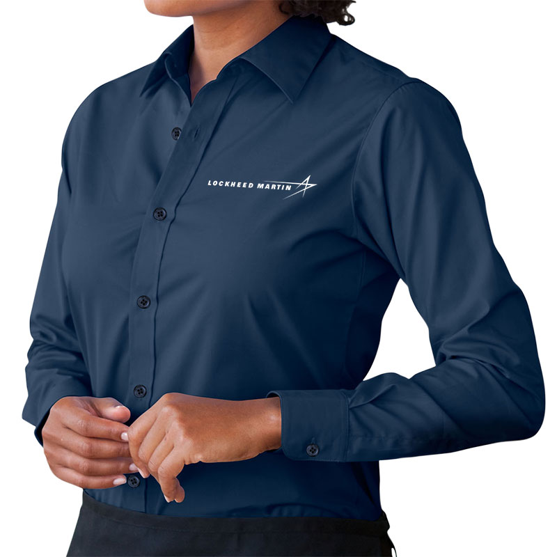 Ladies' Poplin Dress Shirt - Navy