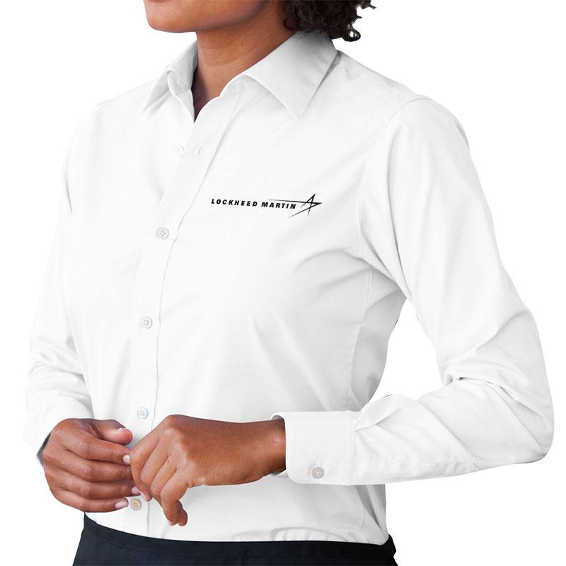 Ladies' Poplin Dress Shirt - White