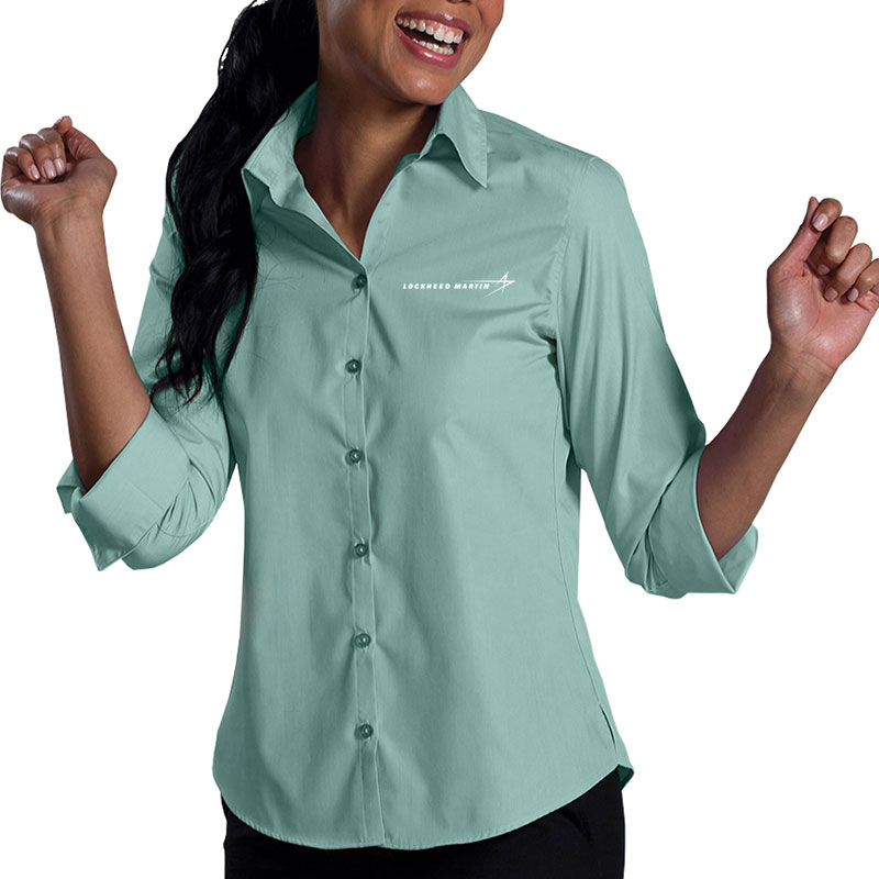 Ladies' Poly Blend Dress Shirt - Seafoam Green