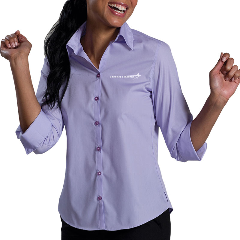 Ladies' Poly Blend Dress Shirt - Lavender