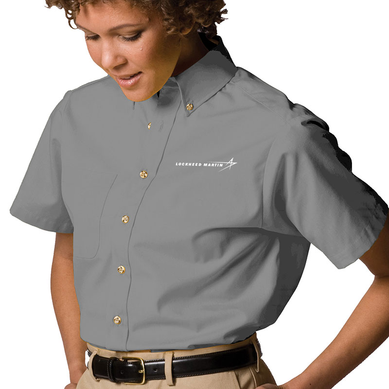 Ladies' S/S Poplin Dress Shirt - Titanium