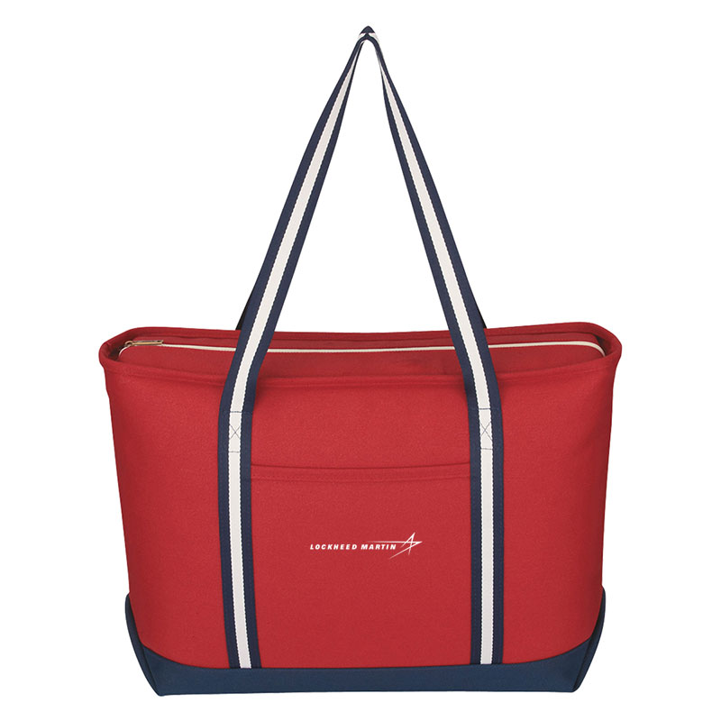 Admiral Canvas Tote - Red / Navy