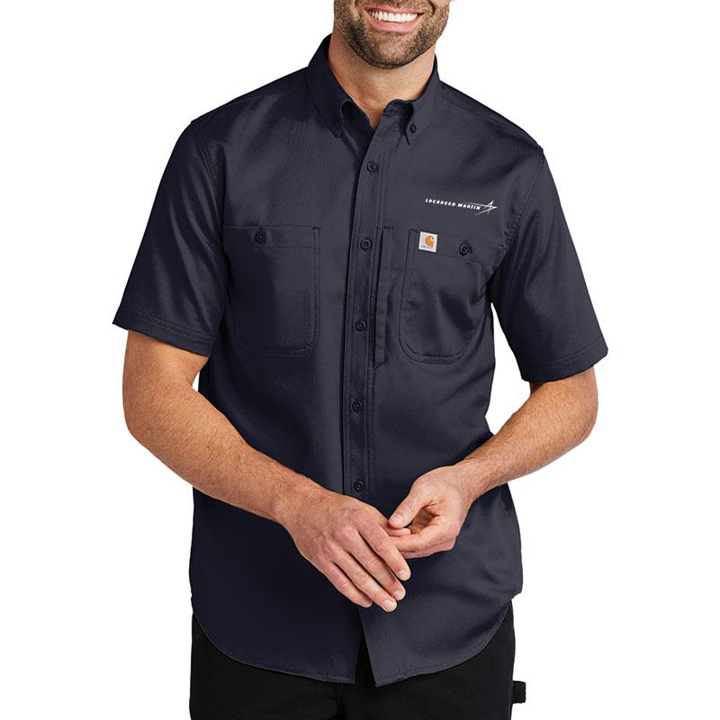 Carhartt Rugged Professional Series Short Sleeve Shirt - Navy Model Front
